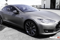 Model S 90D Matte Gray Metallic Full wrap and chrome blackout