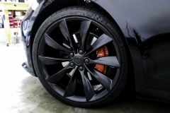 Model S Satin black wheels powder coating, chrome blackout