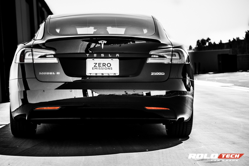 Tesla Model S P100D chrome blackout