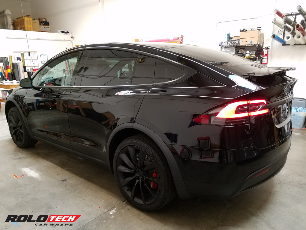 Tesla Model X And Model S Chrome Blackout In Satin Black